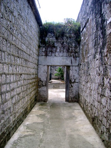 Narrow pathways of what was once a prison quarter