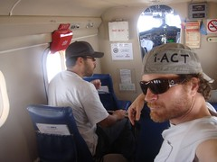 Ian's i-ACT hat in plane