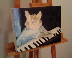 Keyboard Cat, Acrylic on Canvas