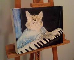 Keyboard Cat, Acrylic on Canvas