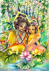 Radha  Krishna at lotus-pond - ISKCON desire tree