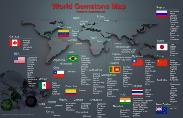 World Gemstone Map INFOGRAPHIC