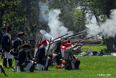 Smoke and fire from the French side of the battle - Plains of Abraham Re-Enactment, Founders Day 2009, Ogdensburg, New York.