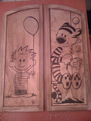Cabinet Doors with Calvin & Hobbes - Initial Drawing