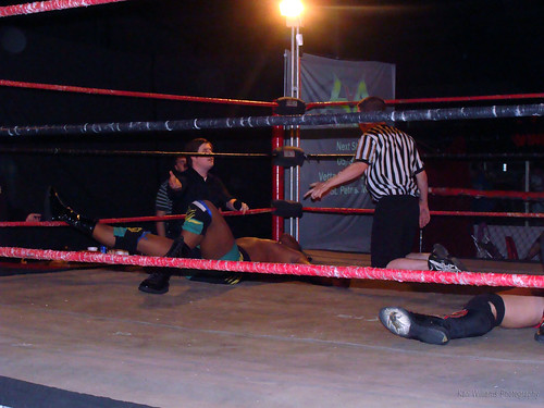 LWA President Luke Roberts and Referee Kurt Styles argue over Ruddick's foot being on the ropes when Wyatt went for the pin. Photo by Kari Williams