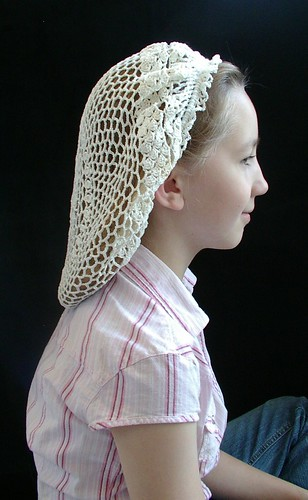 snood side made from antique doily