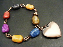 Colored Wooden Bead bracelet with antiqued copper tone chain links and heart locket