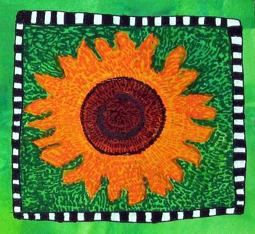 Van Gogh Technique Sunflower