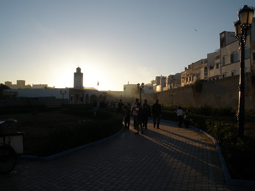 Beautiful sunset over the walls of Essaouira