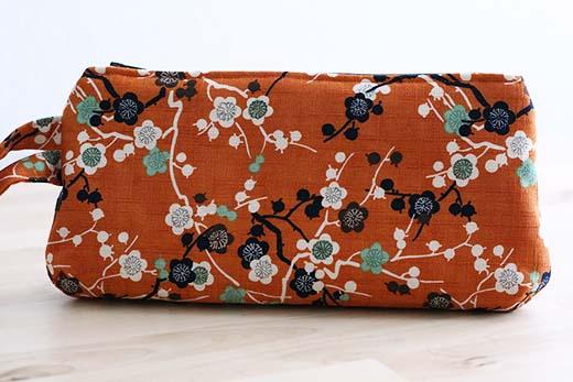 Orange Cherry Blossom Wristlet
