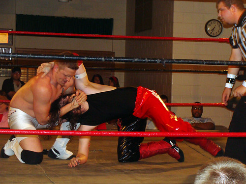 Spitfire Davey Vega and All American Adam Rich wrestled for the first of three new LWA Medallions, The Medallion of Torment, in which the match can only be won via submission. Photo by Kari Williams