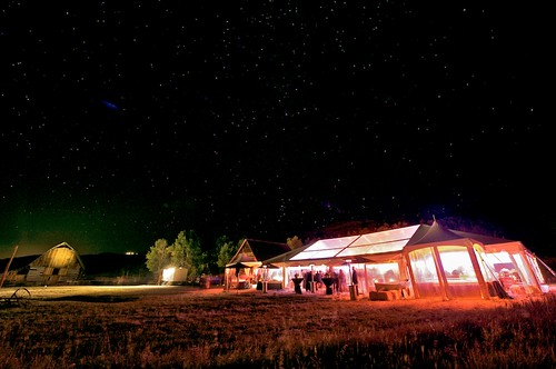 The 80s dance party was hopping, under the stars and in the tent.