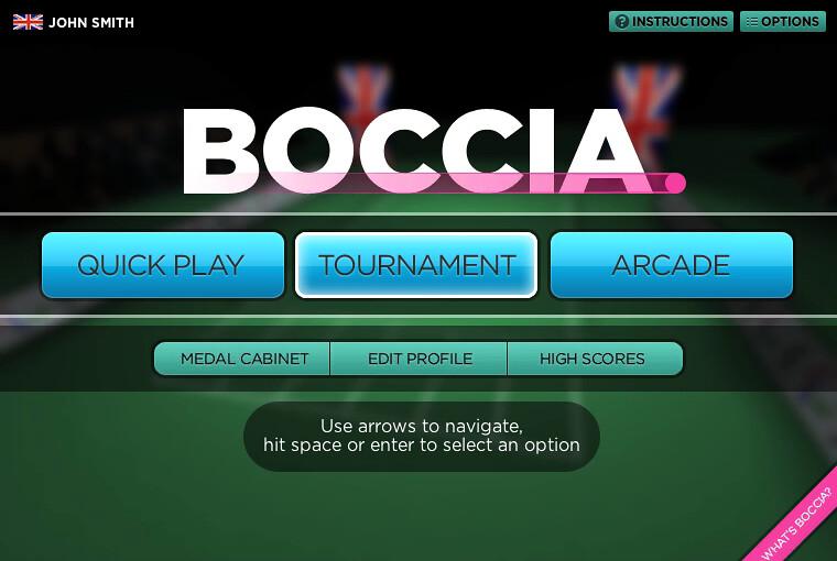 Boccia title screen