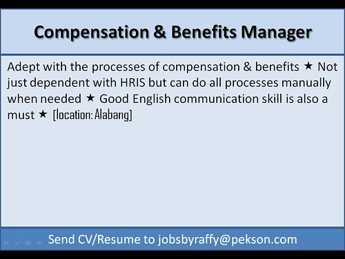 Compensation and Benefits Manager