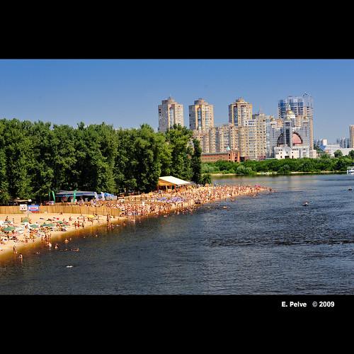 White Sand beach along Dniepr River, Kiev