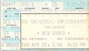 New Order ticket, 1989