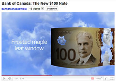 New Bank of Canada $100 Polymer Note - Frosted maple leaf window