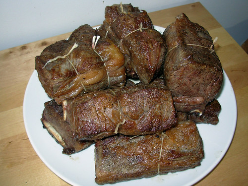 Seared Waygu short ribs, tied and ready for braising