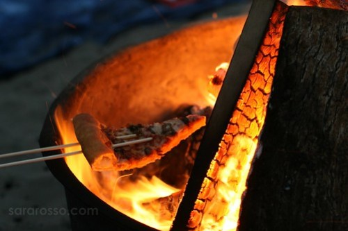 Warming Pizza on the Fire, Ocean Beach in San Francisco, California