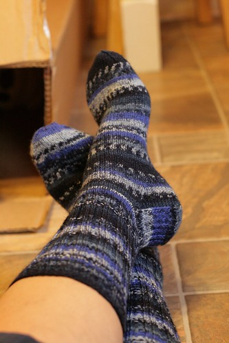 Stripy blue socks for the Consort