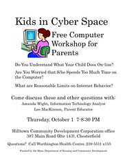 Kids in Cyber Space - Free Computer Workshop for Parents (October 1st, 2009)