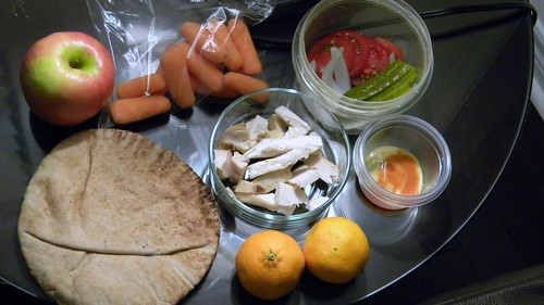 Chicken wrap and snacks