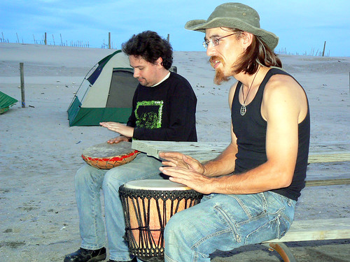 20090807 - Assateague Island camping - Clint, 808 - drumming - (by Vicky) - 3806159816_506026bf67_o
