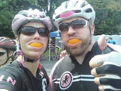 Jenni and I fueling up at the Philly Livestrong ride.