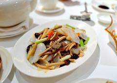 Velvet Pioppino Mushrooms with Squid
