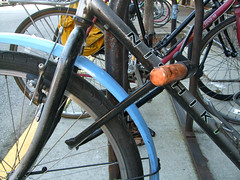 Photo of how to lock your bike's front wheel and frame