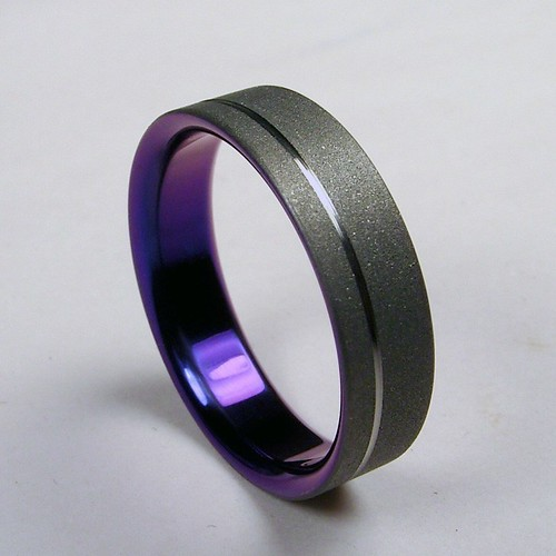 Pinstripe Titanium Wedding Band In Purple Zoe And Doyle Covet Want