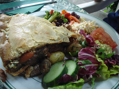 Beef and Guinness Pie with Salad