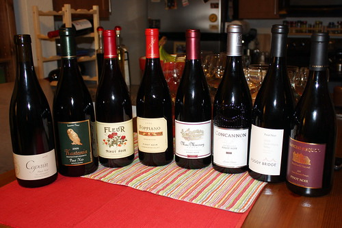 Pinot Noirs, sorted regionally