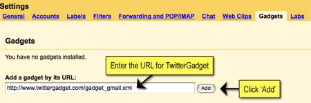 Twitter Gadget: Install