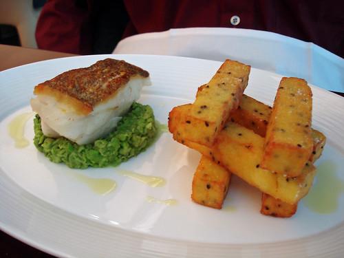 Roasted Cod, Polenta Chips, Peas
