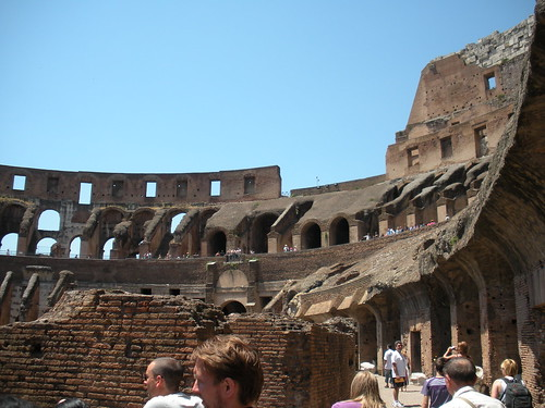 The upper decks of the Colosseum.