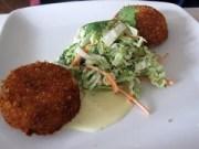 joia restaurant - crab cakes with napa slaw & orange saffron aioli
