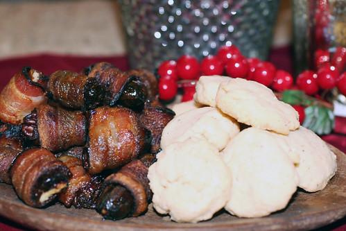 Bacon Wrapped Dates & Pecorino Crackers