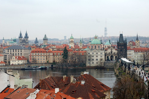 Looking back across the Charles Bridge towards Old Town