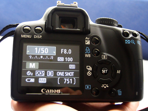 Back view of my Canon 1000D with shooting settings display. If you head over to my Flickr site you can find out what each button is.