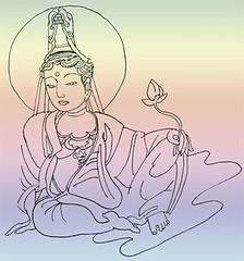 Bodhisattva Kuan Yin at ease with Lotus flower © Marcelle Hanselaar