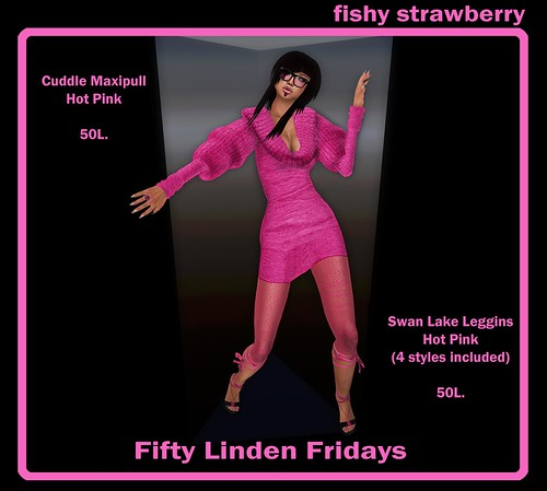 Fifty Linden Fridays 11 - Fishy Strawberry - Swan Lake Leggings and Cuddle Maki Pull in Hot Pink