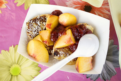French toast w/ peach and berry jam