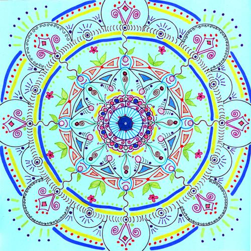 mandala 7 marker & gel ink pen on blue paper (c) 2009, Lynne Medsker