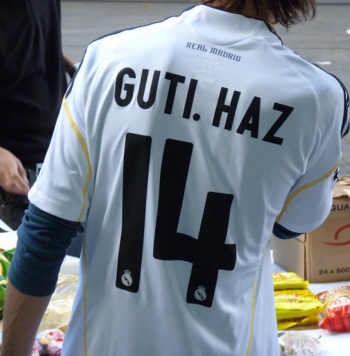 Real Madrid fan wearing the jersey number 14 GUTI