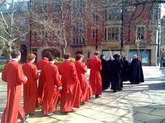 Walking past Sheffield Cathedral, Easter