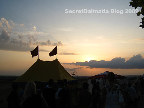 The sun setting on the camp...