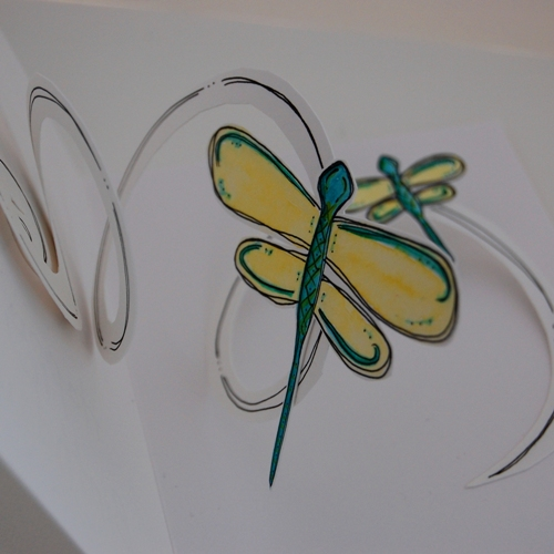 dragonfly pop-up card - detail width=