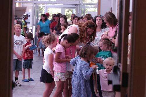 A line out the door at Wilsonville Public Library for a Summer fun show in 2009