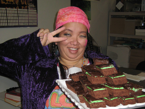Would anyone care for one of Staces magic brownies? We dressed up as hippies last year, so her carrying a plateful of brownies actually made sense!
